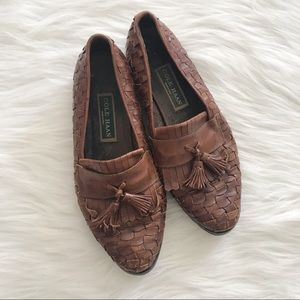COLE HAAN Leather Woven Tassel Loafers Slip On 9.5